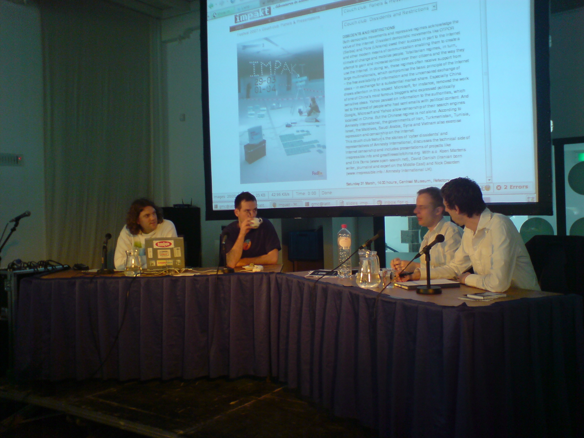 Panel at the 2007 impakt festival couch.club dissidents and restrictions