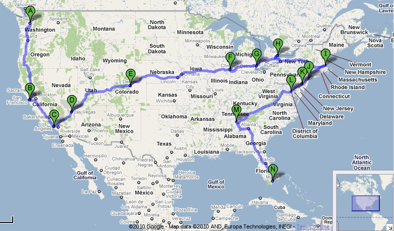 A rough overview of the route